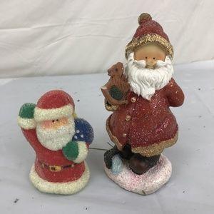 Lot of 2 Santa Claus Sparkle Figurine Christmas